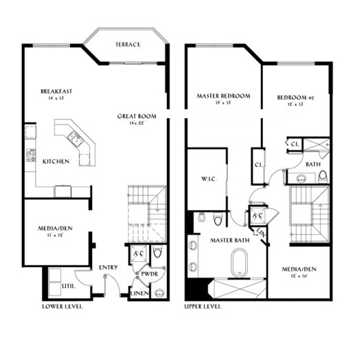 Peninsula ii blintser group for Two story condo floor plans